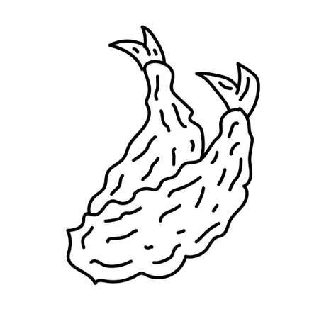 Tempura Icon. Doodle Hand Drawn or Black Outline Icon Style