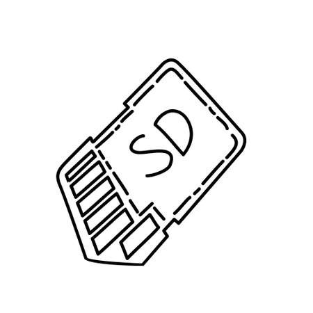 Memory Card Icon. Doodle Hand Drawn or Black Outline Icon Style