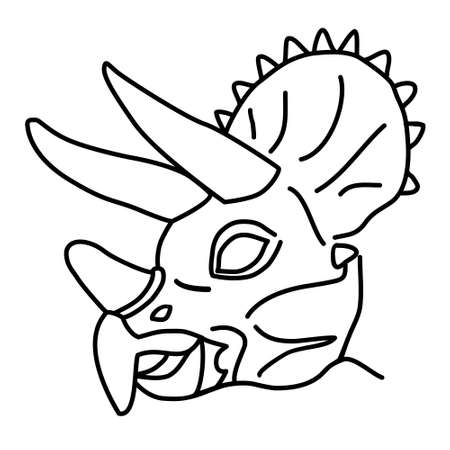 Triceratops Icon. Doodle Hand Drawn or Black Outline Icon Style