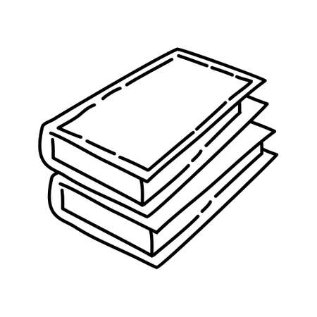 Books Outline Hand Drawn Icon Set Vector.