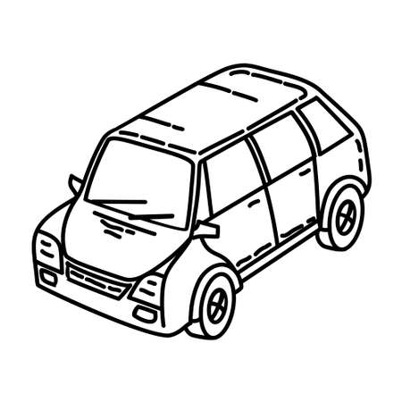 Car Outline Hand Drawn Icon Set Vector Ilustracja