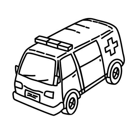 Ambulance Outline Hand Drawn Icon Set Vector