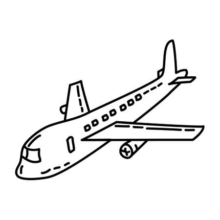 Airplane Outline Hand Drawn Icon Set Vector