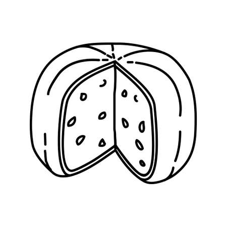Gouda Holland Cheese Icon. Famous Foods Hand Drawn Icon Set Vector. 일러스트
