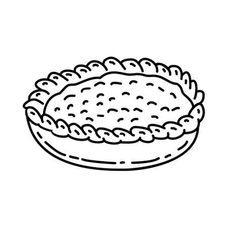 Apple Pie Icon. Famous Foods Hand Drawn Icon Set Vector. 일러스트