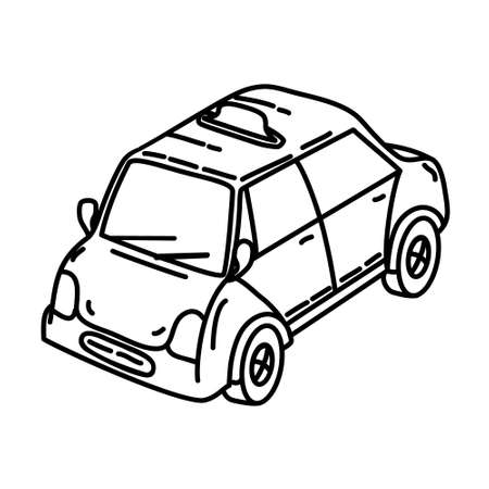 Cab Outline Hand Drawn Icon Set Vector 일러스트