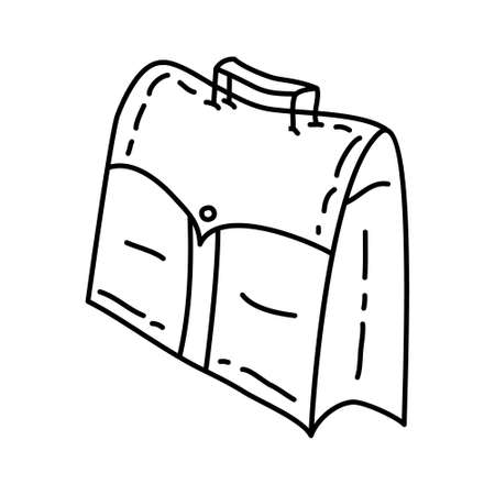Bag Outline Hand Drawn Icon Set Vector. 일러스트