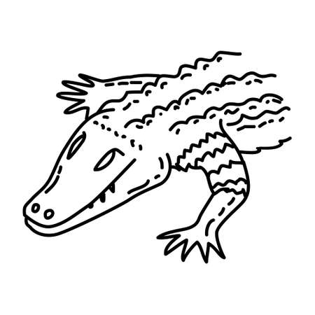 Caiman Icon. Tropical Animal Hand Drawn Icon Set Vector.