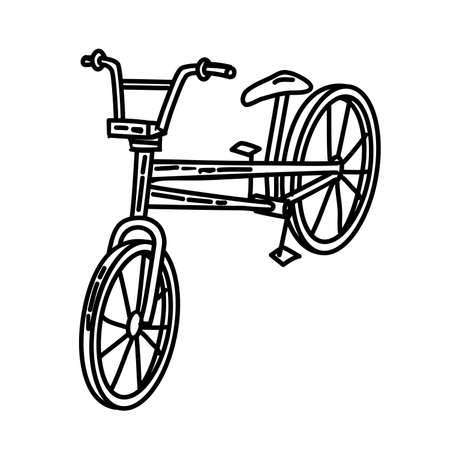 Bicycle Outline Hand Drawn Icon Set Vector 일러스트