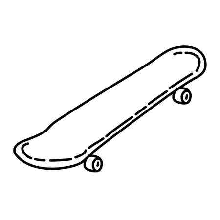 Skateboard Outline Hand Drawn Icon Set Vector