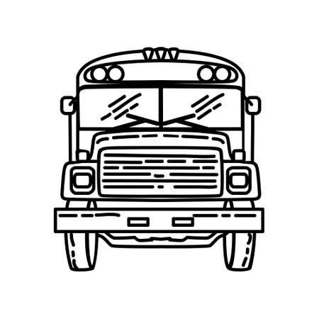 Bus Outline Hand Drawn Icon Set Vector. 일러스트