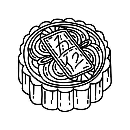 Mooncake Icon. Famous Foods Hand Drawn Icon Set Vector.