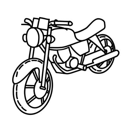 Motorcycle Outline Hand Drawn Icon Set Vector 일러스트