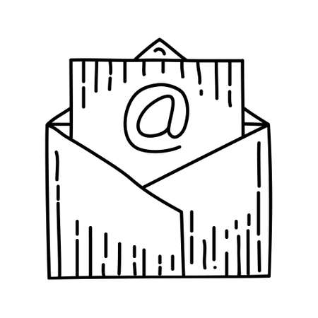 Mail Outline Hand Drawn Icon Set Vector. 일러스트