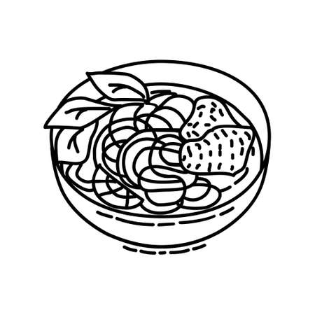Pho Icon. Famous Foods Hand Drawn Icon Set Vector. 일러스트