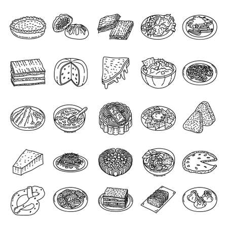 Famous Foods Hand Drawn Icon Set Vector.