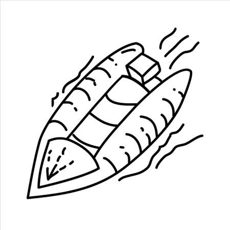 Lifeboat Outline Hand Drawn Icon Set Vector 일러스트