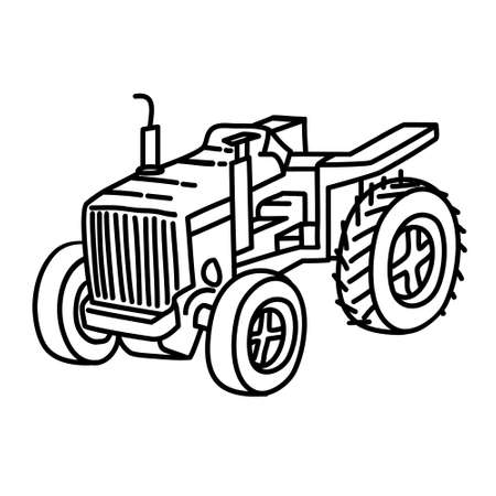 Tracktor Outline Hand Drawn Icon Set Vector 일러스트