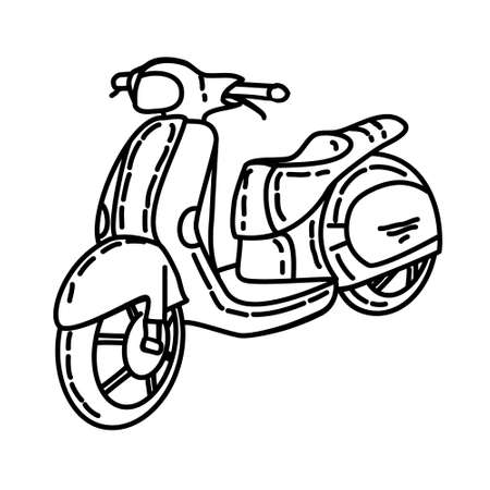 Scooter Outline Hand Drawn Icon Set Vector
