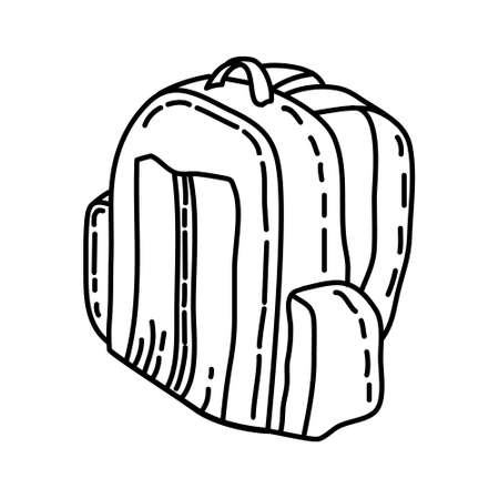 Travel Bag Outline Hand Drawn Icon Set Vector.