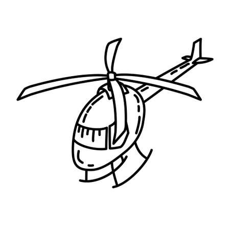 Helicopter Outline Hand Drawn Icon Set Vector