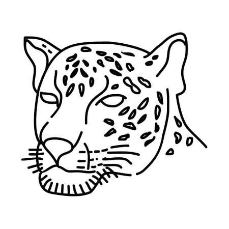 Jaguar Icon. Tropical Animal Hand Drawn Icon Set Vector. Vektorové ilustrace