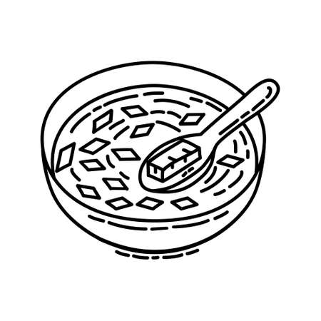 Miso Soup Icon. Famous Foods Hand Drawn Icon Set Vector. 일러스트