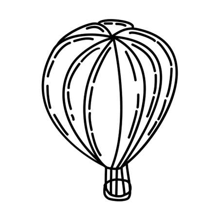 Hot Air Balloon Outline Hand Drawn Icon Set Vector 일러스트