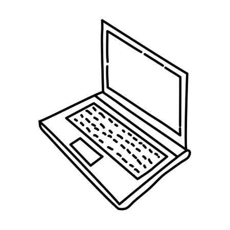 Laptop Outline Hand Drawn Icon Set Vector.