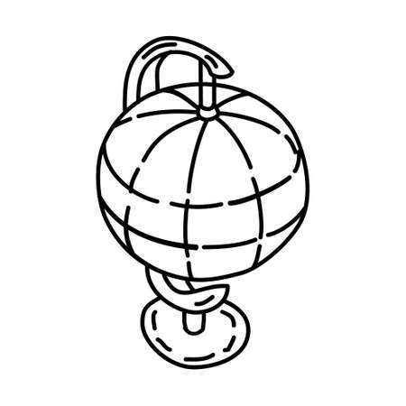 Table Globe Outline Hand Drawn Icon Set Vector.