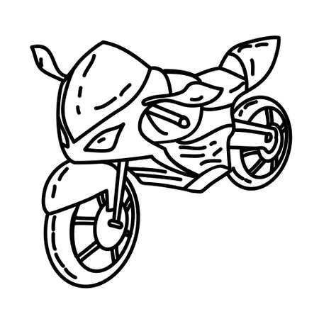 Motorbike Outline Hand Drawn Icon Set Vector
