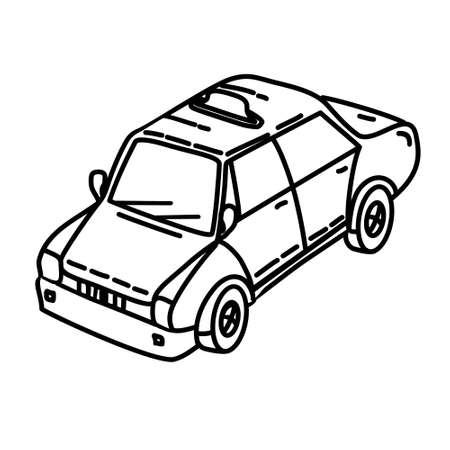 Taxi Outline Hand Drawn Icon Set Vector