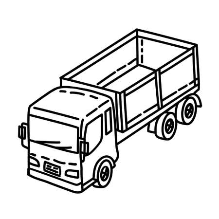 Truck Outline Hand Drawn Icon Set Vector 일러스트
