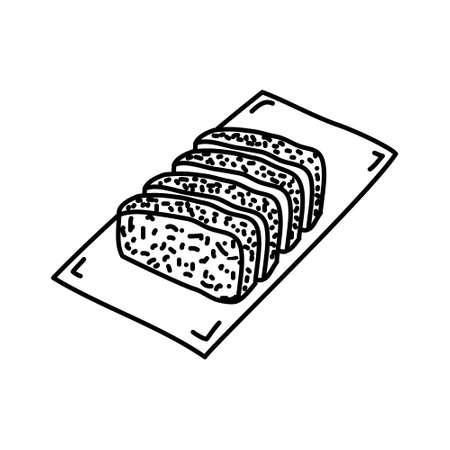 Tonkatsu Icon. Famous Foods Hand Drawn Icon Set Vector. Illustration
