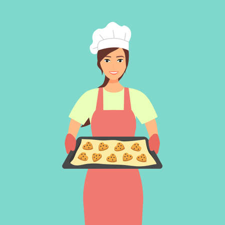 Young woman baking chocolate chip cookies vector illustration. Pastry chef preparing cookies for bakery shop. Housewife holding tray with heart shape cookies character in flat design. Vetores