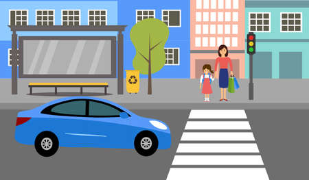 Woman with kid waiting for crossing the road at crosswalk with traffic light vector illustration. Road, car, city street, mom and daughter and traffic light in flat design.