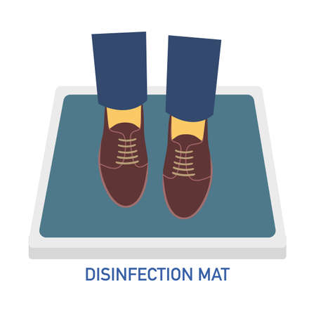 Man or woman are standing on disinfection mat to clean shoe from Covid-19 coronavirus and bacteria. Healthcare concept vector illustration on white background. Illustration