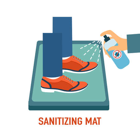 Man standing on disinfection mat to clean shoe from Covid-19 coronavirus and bacteria. Hand holding disinfecting alcohol bottle spraying to clean shoe. Healthcare concept vector illustration.