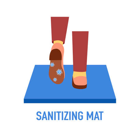 Woman standing on disinfection mat to clean shoe from Covid-19 coronavirus and bacteria. Healthcare concept vector illustration.