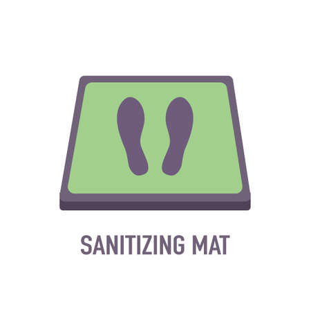 Disinfection mat with footprint sign in flat design on white background. Sanitizing mat to clean Covid-19 coronavirus infection on shoes. Healthcare sanitizer.