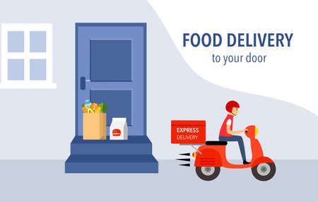 Man riding scooter after placing products at customer house door. Online food order and food delivery service concept. Uber eat, grab food, fast food design for landing page, web, mobile app, poster.