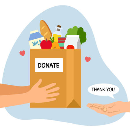 Sharing food to people. Foos donation concept. Man hand holding box full of food in flat design vector illustration on white background. Time for charity.