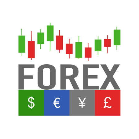 Forex trading signal, forex investment concept in flat design. Dollar, Euro, Japanese Yen and British Pound trade currency. Çizim