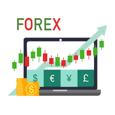 Forex trading signal, forex investment concept in flat design. Buy and sell indicator for forex trade on candlestick chart. Dollar, Euro, Japanese Yen and British Pound trade currency. Çizim