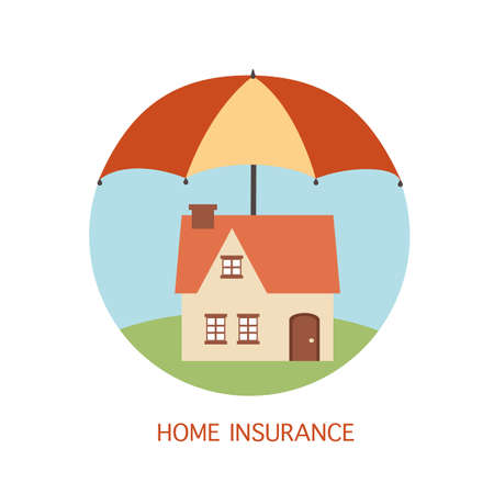 Home insurance concept flat design vector illustration. House protected under umbrella. Residents home real estate protection. 向量圖像
