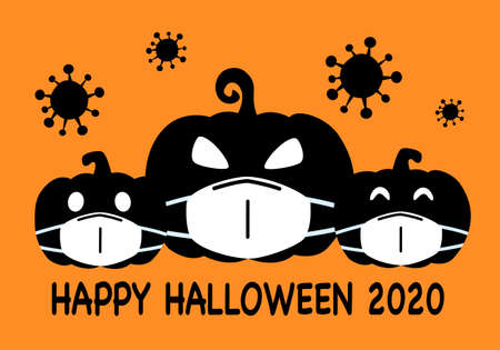 Pumpkins wearing medical face mask with virus cells around in flat design. Halloween festival in Covid-19 Coronavirus outbreak concept vector illustration. Ilustração Vetorial