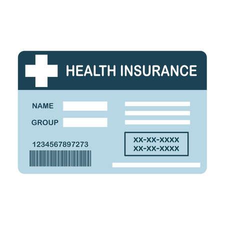Health insurance card flat design on white background. Medical insurance card concept vector illustration.