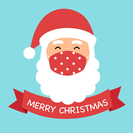 Santa Claus wearing red medical face mask in flat design.