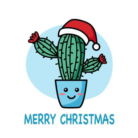 Cute cactus wearing Santa Claus hat cartoon in flat design. Merry Christmas decoration concept line art vector illustration.