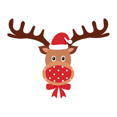 Reindeer wearing red medical face mask and Santa hat in flat design. Merry Christmas festival celebration in Covid-19 Coronavirus outbreak concept vector illustration.